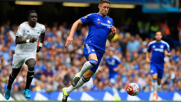 during the Barclays Premier League match between Chelsea and Swansea City at Stamford Bridge on August 8, 2015 in London, England.