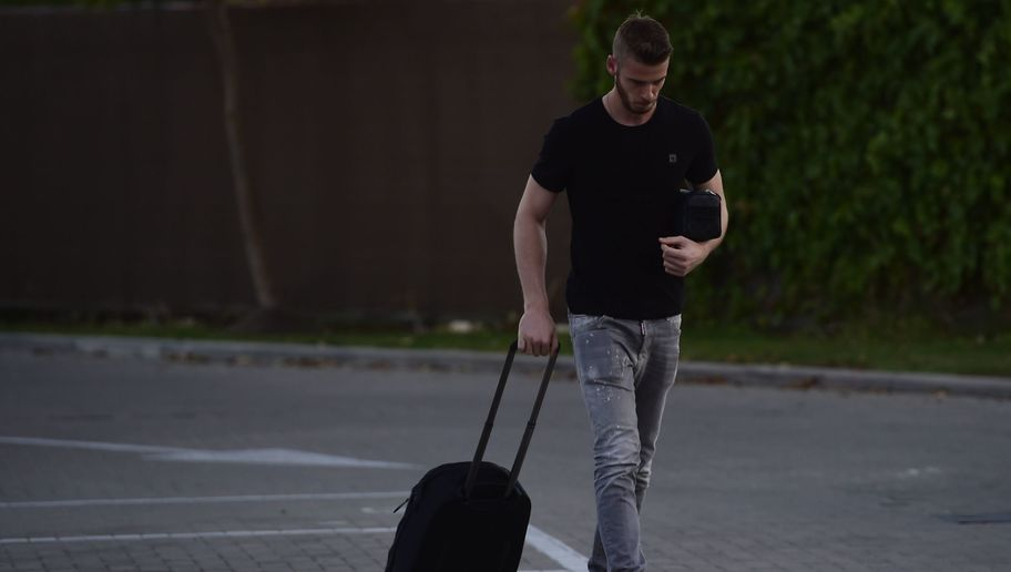 Manchester United's goalkeeper David de Gea arrives at Las Rozas' Soccer City on September 1, 2015. Real Madrid have blamed Manchester United for the collapse of goalkeeper David de Gea's move to the Spanish giants, claiming the English side sent the documents needed to complete the deal after the Spanish transfer deadline had passed. AFP PHOTO/ PIERRE-PHILIPPE MARCOU        (Photo credit should read PIERRE-PHILIPPE MARCOU/AFP/Getty Images)